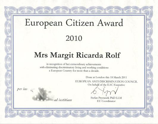 Margit Ricarda Rolf erhält Auszeichnung
